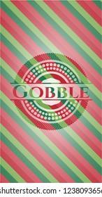 Gobble christmas colors emblem.