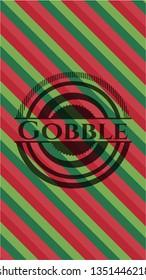 Gobble christmas colors style emblem.