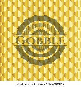 Gobble gold badge. Scales pattern. Vector Illustration. Detailed.