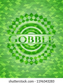 Gobble green emblem with mosaic background
