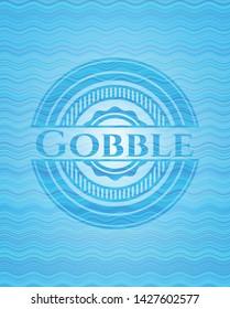 Gobble light blue water wave emblem. Vector Illustration. Detailed.