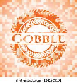 Gobble orange mosaic emblem