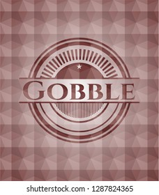 Gobble red seamless geometric badge.