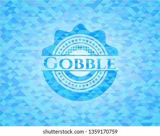 Gobble sky blue mosaic emblem