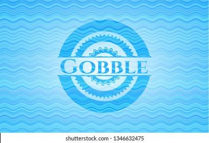 Gobble sky blue water style emblem.