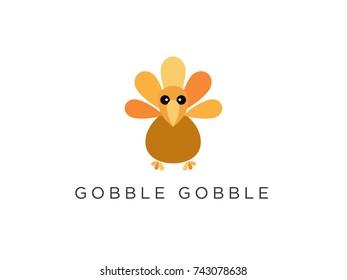 Gobble Gobble Thanksgiving Turkey Icon Illustration Fall Autumn Harvest Illustration