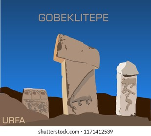 Gobeklitepe in TURKEY. Sanliurfa. the world's first temple. oldest work. neolithic period. t columns. historic temple