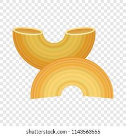 Gobetti rigati pasta icon. Realistic illustration of gobetti rigati pasta vector icon for on transparent background