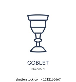 Goblet icon. Goblet linear symbol design from Religion collection. Simple outline element vector illustration on white background.