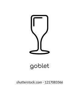 Goblet icon. Trendy modern flat linear vector Goblet icon on white background from thin line Religion collection, editable outline stroke vector illustration
