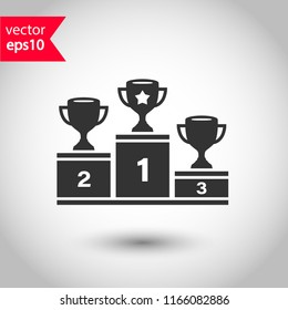 Goblet podium vector icon. Cup award sign. Reward ceremony icon. Prize places symbol. Champion goblet icon. EPS 10 flat symbol.