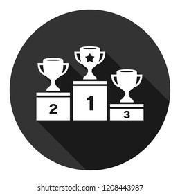 Goblet podium vector icon. Cup award sign. Reward ceremony icon. Prize places symbol. Champion goblet icon. EPS 10 flat symbol. Round icon with shadow