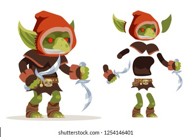 Goblin assassin outlaw thief burglar evil minion dungeon monster fantasy medieval action game RPG character layered animation ready character vector illustration