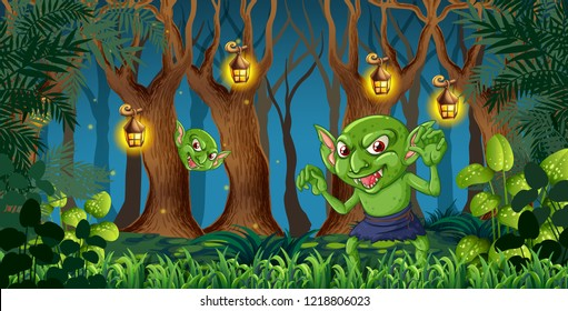 Goblin in the dark forest illustration