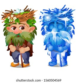 The Goblin forest, grandfather Ranger overgrown, with a nest of eggs on his head isolated on a white background. Vector cartoon close-up illustration