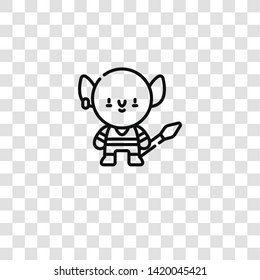 goblin icon from  collection for mobile concept and web apps icon. Transparent outline, thin line goblin icon for website design and mobile, app development
