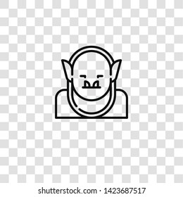 goblin icon from FANTASTIC CHARACTERS collection for mobile concept and web apps icon. Transparent outline, thin line goblin icon for website design and mobile, app development