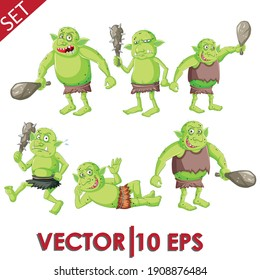 Goblin set. Goblin character set. Vector illustration eps10.