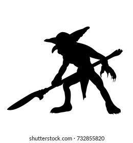 Goblin silhouette monster villain fantasy. Vector illustration.