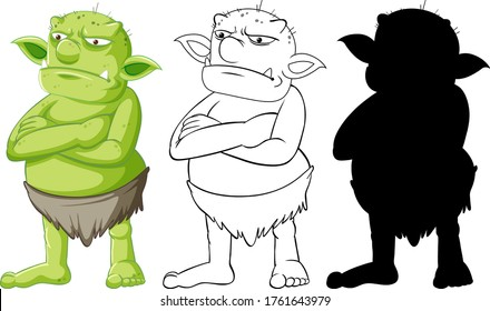 Goblin or troll in color and outline and silhouette in cartoon character on white background illustration