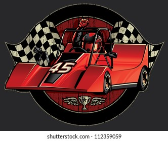 Go-Cart Racing Champion Crest Vector illustration of a go-cart racer holding his fist high in a victory pose over a grunge textured circular design with checkered flags and trophy with wings.