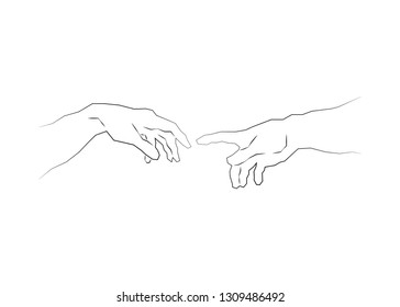 God and Adams hands. Creation of human. Genesis. Touch of god. Spirituality. A section of Michelangelo's fresco Sistine Chapel ceiling. Sketch drawing vector illustration isolated or white background