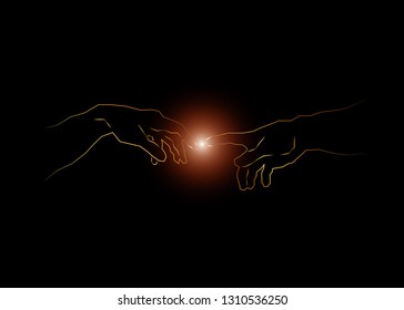 God and Adams hands. Creation of human. Genesis. Touch of god. Spirituality. A section of Michelangelo's fresco Sistine Chapel ceiling. Sketch drawing vector illustration isolated or black background
