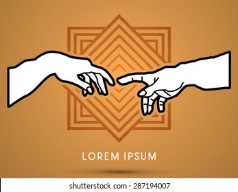 God and Adam's hands , designed on geometric line square background, graphic vector.