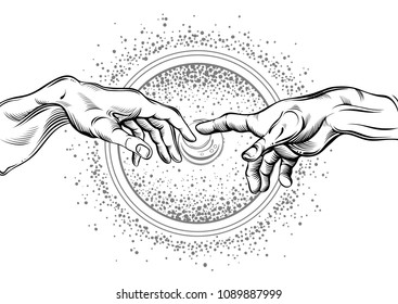 God and Adams hands. Modern vector illustration. The Creation of Adam. Philosophy of the Universe and religious motives. Artwork is great for any design industries: print, tattoos, textiles and etc.