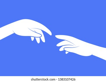 God and Adams hands, touching fingers. Genesis, touch of god. Collaboration Thinking, Creation. Michelangelo's fresco Sistine Chapel ceiling concept. Flat line vector illustration on blue background.