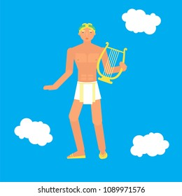 god Apollo with lyre in a hand. Stock vector illustration of myth creature, god of music, poetry and art. Flat style