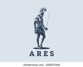 God Ares or Mars with a spear in his hands. Vector emblem.