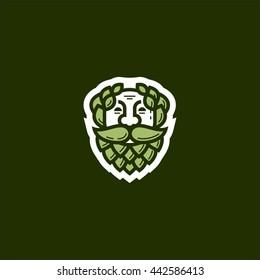 God of Beer with beard vector logo emblem