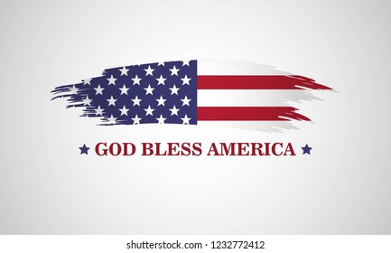 God bless America. Patriotic illustration with grunge american flag