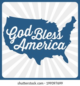 God Bless America - Patriotic USA Map Vector - Memorial Day - Fourth of July - July 4th - Independence Day - Flag Day - Labor Day
