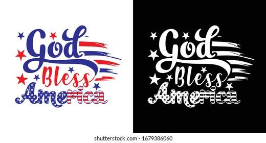 God Bless America Printable Vector Illustration