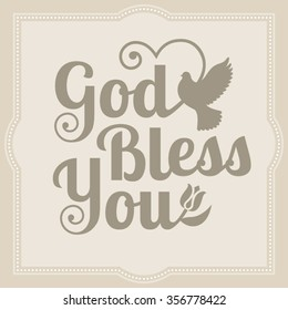 God bless you calligraphic with silhouette pigeon flying