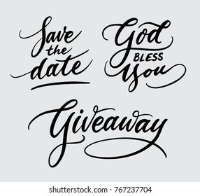 God bless you and giveaway handwriting calligraphy. Good use for logotype, symbol, cover label, product, poster title or any graphic design you want. Easy to use or change color