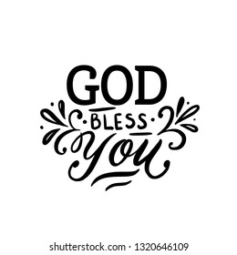 God bless You - Vector illustration with hand-drawn lettering. Religious (Christian) Lettering. Christian poster.