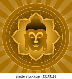 God Buddha On Lotus Background (Vector)