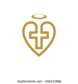 God Christian Love conceptual logo design combined with Christian Cross and heart, vector creative symbol.