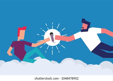 God Creating Adam. Man giving mic to another person. Vector Illustration of two men and a mic. Standup / Open Mic /Poetry Night / Karaoke Concept Poster