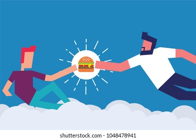 God Creating Adam. Man giving burger to another person. Vector Illustration of two men and burger. Foodie Concept. Love burger