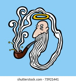 God creating himself from the smoke from his pipe
