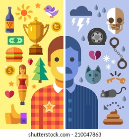 God and evil in man, good and bad mood, fun and sadness.Color vector flat icon set and illustration opposites: sun, money girl, love, joy, success, health, storm, death, accident, rat, shit, handcuffs