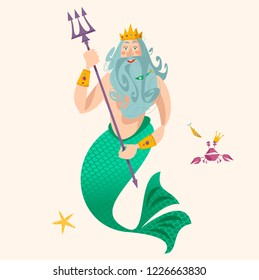 God of freshwater, sea and ocean Neptune (Poseidon). Vector illustration.