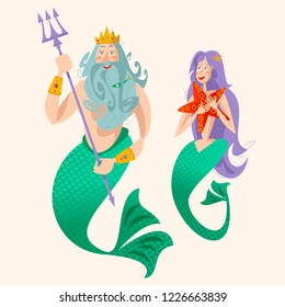 God of freshwater, sea and ocean Neptune (Poseidon) and a mermaid. Vector illustration.