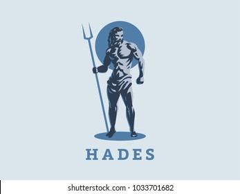 God Hades or Pluto. Vector emblem.