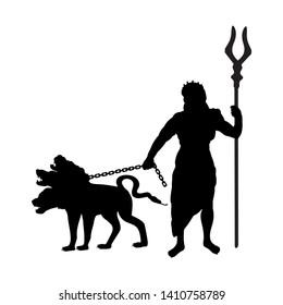 God Hades silhouette ancient mythology fantasy. Vector illustration.