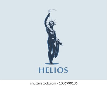 God Helios holds a torch in his hands. Vector emblem.